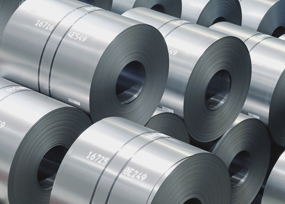 Germany, Stack of large rolls of sheet metal